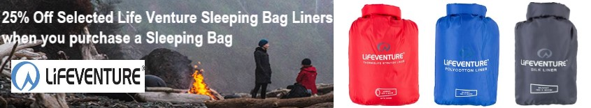 25% Off Selected Life Venture Sleeping Bag Liners