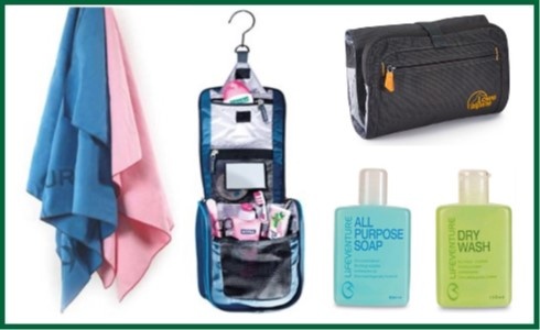 Wash Bags, Towels & Soap
