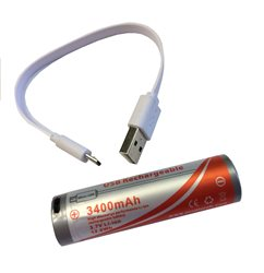 Orcatorch USB Direct Charging 18650 Lithium Battery 3400mAh