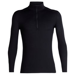 Icebreaker Mens 200 Oasis LS Half Zip Thermal Base Layer (Options: S Black, M Black, L Black, XL Black, XXL Black)