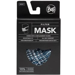 Buff Solid Black Filter Adult Mask With 5 Replacement Filters