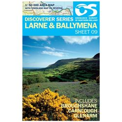 OS Northern Ireland 09 Larne 1:50000 Map