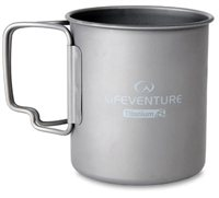 Lifeventure Titanium Mug 450ml with Folding Handle