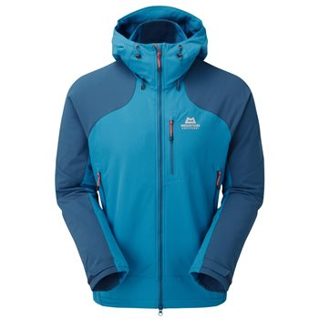 Mountain Equipment Mens Frontier Hooded Jacket Soft Shell Ombre Blue - Click to view larger image