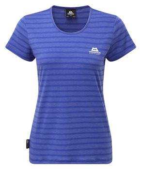 Mountain Equipment Groundup Womens Stripe Tee Celestial Blue - Click to view larger image