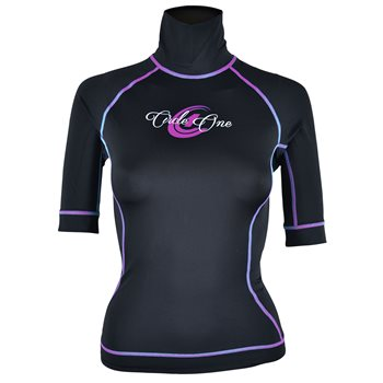 Circle One Womens Lycra Short Sleeve Rash Vest Black Blue - Click to view larger image