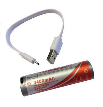 Orcatorch USB Direct Charging 18650 Lithium Battery 3400mAh  - Click to view larger image