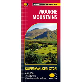 Harvey Maps Mourne Mountains Superwalker XT25 Map  - Click to view larger image