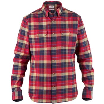 Fjallraven Mens Singi Heavy Flannel Long Sleeve Shirt Singi Heavy Flannel - Deep Red - Click to view larger image