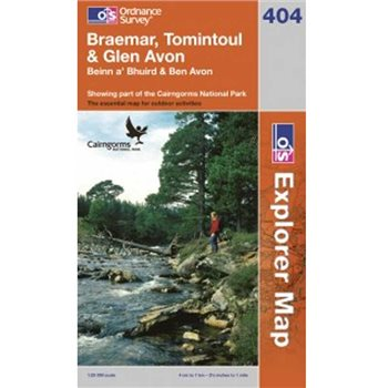 Ordnance Survey 404 + Braemar, Tomintoul & Glen Avon 1:25 000  - Click to view larger image