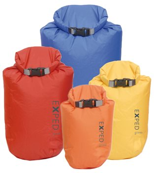 Exped Drybag 4 Pack 3L-5L-8L-13L Waterproof Folding Dry Bag Set Bright Colours Set - Click to view larger image