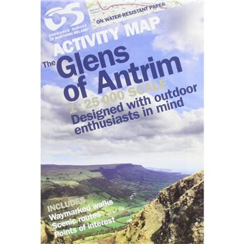 OS Northern Ireland Glens of Antrim 1:25 000 Laminated  - Click to view larger image