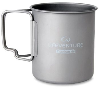 Lifeventure Titanium Mug 450ml with Folding Handle  - Click to view larger image